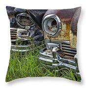 Vintage Frazer Auto Wreck Front Ends Throw Pillow