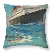 Vintage French Line Travel Poster Throw Pillow