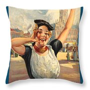 Vintage Holland Travel Poster Throw Pillow