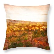 Vintage  Landscape Florence Italy Throw Pillow