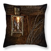 Vintage Lantern Hung In A Barn Throw Pillow