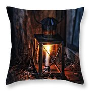 Vintage Lantern In A Barn Throw Pillow by Jill Battaglia