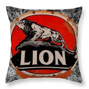 Vintage Lion Oil Sign Throw Pillow