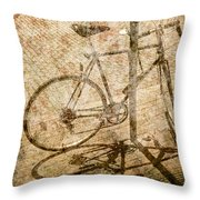Vintage Looking Bicycle On Brick Pavement Throw Pillow