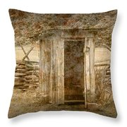 Vintage Looking Old Outhouse In The Great Smokey Mountains Throw Pillow