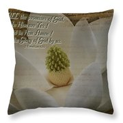 Vintage Magnolia With Verse Throw Pillow