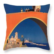 Vintage Mediterranean Travel Poster Throw Pillow