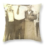 Vintage Men In Front Of Tree Throw Pillow