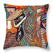 Vintage Mermaid And Wisdom Coral Angel Throw Pillow
