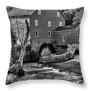 Vintage Mill In Black And White Throw Pillow