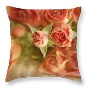 Vintage Peaches N Creme Spray Roses Throw Pillow by Susan Gary