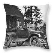 Vintage Photo Of Men In Truck Throw Pillow