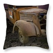 Vintage Pickup On Parched Earth Throw Pillow