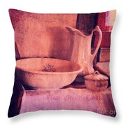 Vintage Pitcher And Wash Basin Throw Pillow