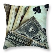 Vintage Playing Cards And Cash Throw Pillow
