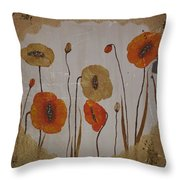 Vintage Red Poppies Painting Throw Pillow