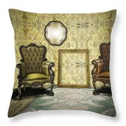 Vintage Room Interior Throw Pillow