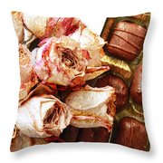 Vintage Roses And Chocolates Painterly Throw Pillow