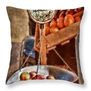 Vintage Scale At Fruitstand Throw Pillow by Jill Battaglia
