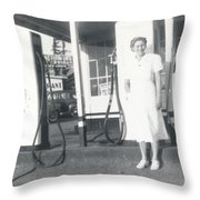 Vintage Service Station Throw Pillow