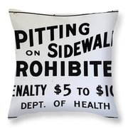 Vintage Sign For Spitter Haters Throw Pillow