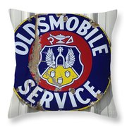 Vintage Sign Oldsmobile Service Throw Pillow
