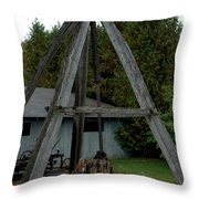 Vintage Stump Puller Throw Pillow