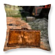 Vintage Suitcase By Train Throw Pillow