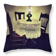Vintage Table And Chairs By Oil Lamp Light Throw Pillow