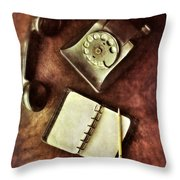 Vintage Telephone And Notebook. Throw Pillow