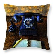 Vintage Telephone And Notepad Throw Pillow