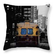 Vintage Trolley Throw Pillow