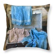Vintage Trunk With Ladies Clothing Throw Pillow