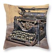 Vintage Typewriter Throw Pillow by Susan Leggett