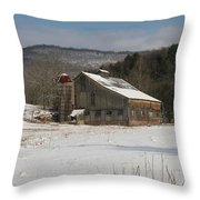 Vintage Weathered Wooden Barn Throw Pillow
