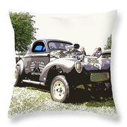 Vintage Willys Gasser Throw Pillow