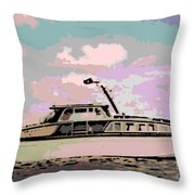 Vintage Yacht Throw Pillow
