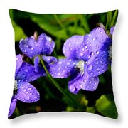 Violet And Raindrops Throw Pillow