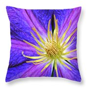 Violet Clematis Throw Pillow