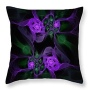 Violet Floral Edgy Abstract Throw Pillow