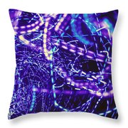 Violet Neon Lights Throw Pillow