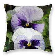 Violet Pansies Flower Throw Pillow