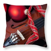 Violin And Red Ornaments Throw Pillow