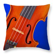 Violin Isolated On Blue Throw Pillow