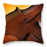 Violin Isolated On Gold Throw Pillow