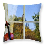 Violin On A Window Sill Throw Pillow