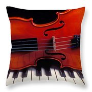 Violin On Piano Keys Throw Pillow by Garry Gay