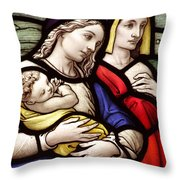 Virgin Mary And Baby Jesus Stained Glass Throw Pillow