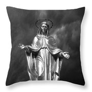 Virgin Mary And The Thunderstorm Bw Throw Pillow