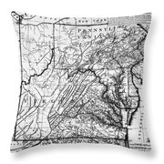 Virginia: Map, C1784 Throw Pillow